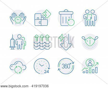 Science Icons Set. Included Icon As Medical Mask, Medical Vaccination, Full Rotation Signs. Cloud Sy