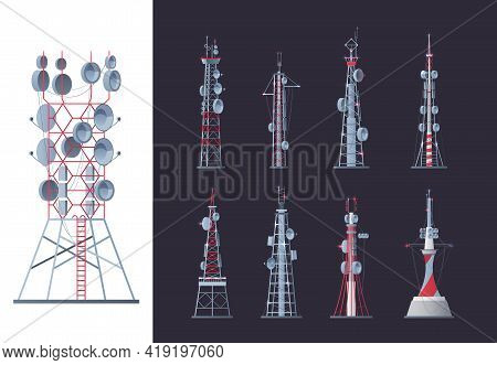 Wireless Towers. Network Communication Buildings Modern Outdoor Smart System Garish Vector Towers Pi