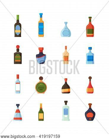 Alcoholic Bottles. Restaurant Bar Alcoholic Drinks Plastic And Glass Bottles With Labels Vodka Rum T