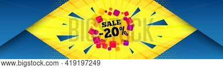 Sale 20 Percent Off Banner. Abstract Background With Offer Message. Discount Sticker Shape. Coupon B