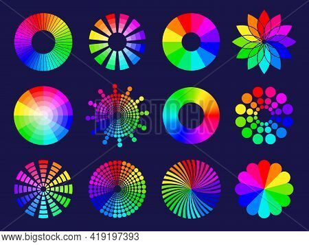 Rgb Circles. Round Abstract Shapes Selective Colored Spectrum Waves Frequency Wheels Rgb Palletes Re