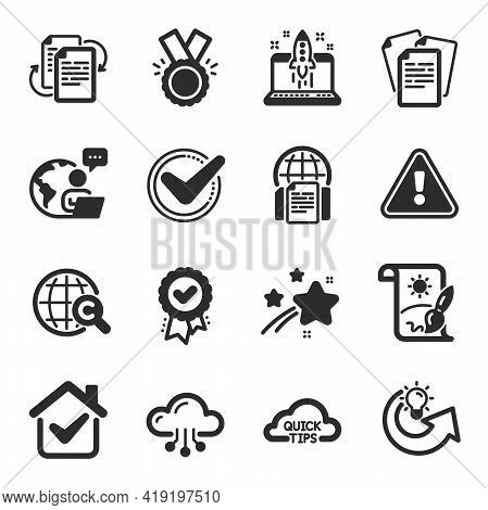 Set Of Education Icons, Such As Cloud Computing, Creative Painting, Honor Symbols. Quick Tips, Start
