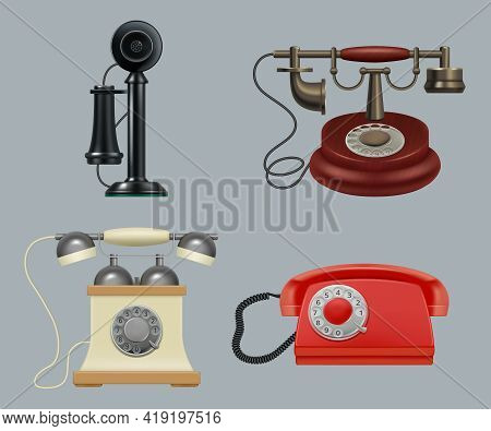 Retro Phones Realistic. Old Style Vintage Gadgets Ringing Telephone For Call Center Service Decent V