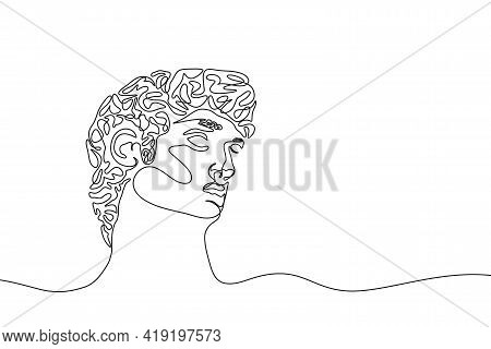 One Continuous Line Drawing Of Antique Statue. One Line Hand Drawn Sculpture Of Male Head. Vector Il