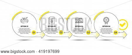 Medical Help, 360 Degrees And Delete File Line Icons Set. Timeline Process Infograph. Reject Medal S