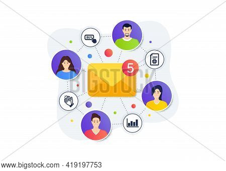 Technical Documentation, Buy Button And Clapping Hands Icons Simple Set. Teamwork Messages Banner. E