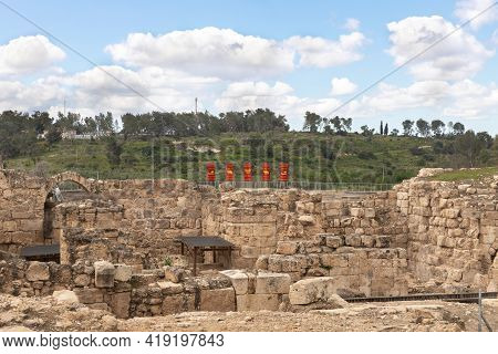 Kiryat Gat, Israel, March 27, 2021 : The Remains Of The Maresha City In Beit Guvrin, Near Kiryat Gat