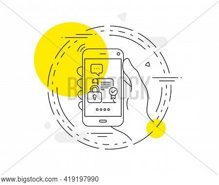 Security Contract Line Icon. Mobile Phone Vector Button. Cyber Defence Lock Sign. Private Protection
