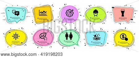 Business Icons Set. Speech Bubble Offer Banners. Vector Coupon Badge. Included Icon As Dots Message,