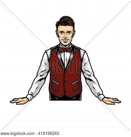 Colorful Concept Of Smiling Casino Croupier In Vintage Style Isolated Vector Illustration