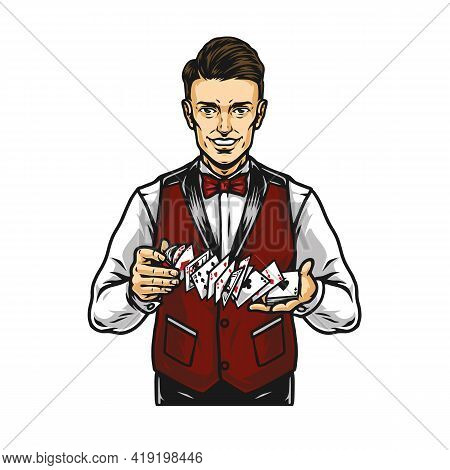 Smiling Croupier Shuffles Cards Colorful Concept In Vintage Style Isolated Vector Illustration