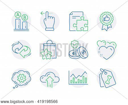 Business Icons Set. Included Icon As Cogwheel, Refresh, Heart Signs. Ab Testing, Strategy, Positive