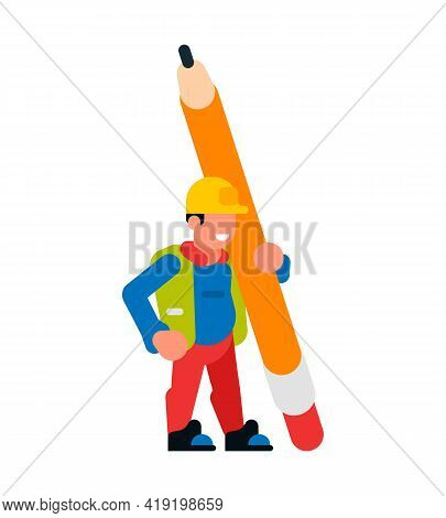 Worker Holding A Large Pencil. Worker Man And Pencil. Stationery, Eraser, Graphite, Rod, Smile, Happ