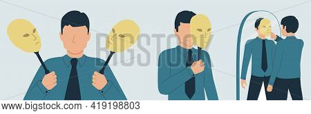 The Persona Hides Its Identity Under A Mask. Vector Illustration Of Dissociative Identity Disorder,