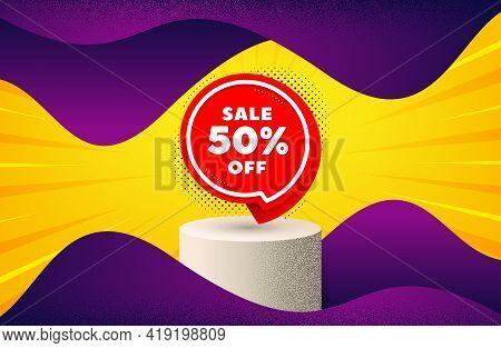 Sale 50 Percent Off Sticker. Background With Podium Platform. Discount Banner Shape. Coupon Bubble I