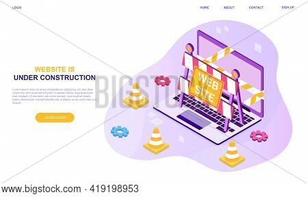 Website Under Construction Page. Flat Abstract Metaphor Outline Cartoon Vector Illustration Concept