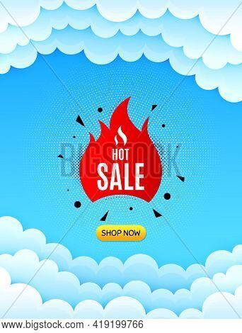 Hot Sale Banner. Cloud Sky Background With Offer Message. Discount Sticker Shape. Coupon Tag Icon. B