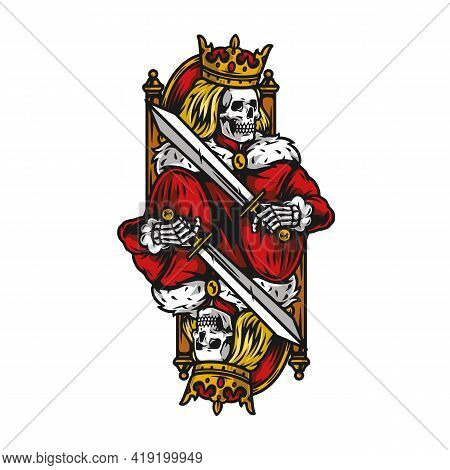 King For Playing Card Vintage Colorful Concept With Skeleton In Crown And Mantle Holding Sword And S
