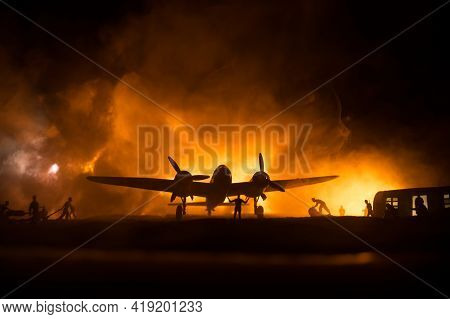 German Junker (ju-88) Night Bomber At Night. Artwork Decoration With Scale Model Of Jet-propelled Pl