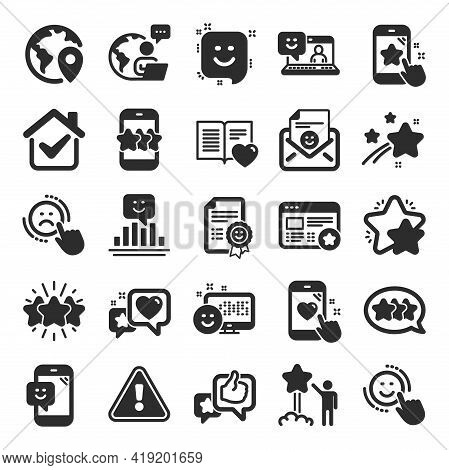 Feedback Icons. Set Of User Opinion, Customer Service And Star Rating Icons. Testimonial, Positive N