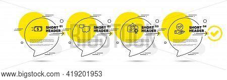 Speech Bubble, Vip Certificate And Money Transfer Line Icons Set. Timeline Infograph Speech Bubbles.