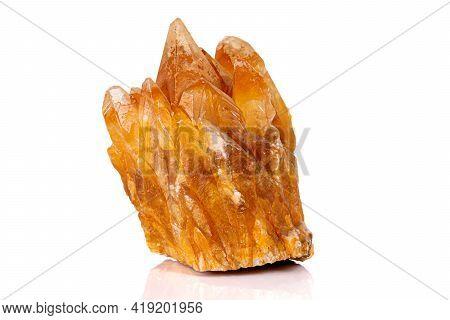 Macro Stone Calcite Mineral On White Background