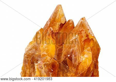 Macro Stone Calcite Mineral On White Background Close Up