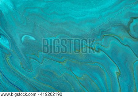 Abstract Fluid Art Background Dark Blue And Turquoise Colors. Liquid Marble. Acrylic Painting On Can