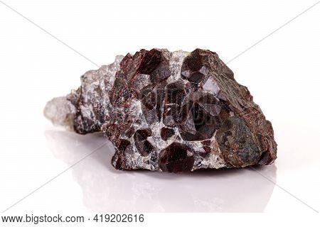 Macro Stone Garnet Mineral On White Background