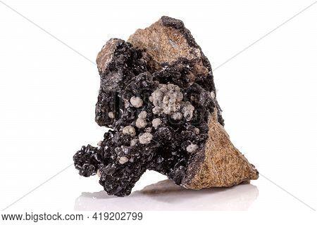 Macro Stone Groutite Mineral On White Background