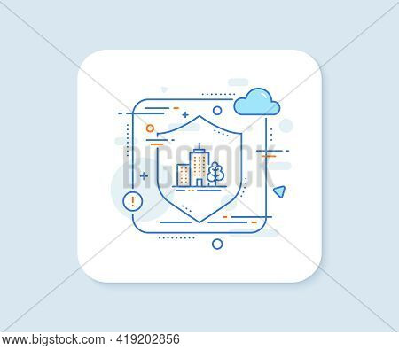 Skyscraper Buildings Line Icon. Abstract Vector Button. City Architecture With Tree Sign. Town Symbo