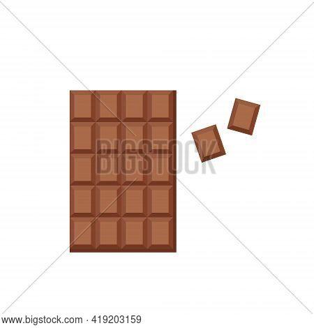 Milk Chocolate Bar And Broken Wedges. Source Of Calcium, Fat. Sweet Dessert. Vector Flat Illustratio