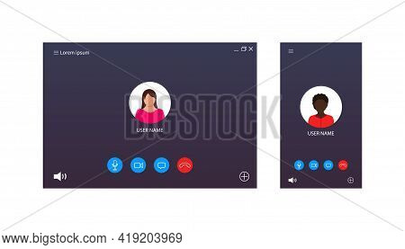 Video Call Ui For Conference. Screen Interface Of Chat, Webinar, Meeting. Template Of Online Videoca