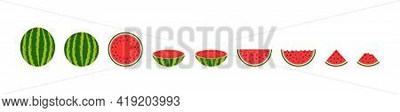 Red Watermelon. Round, Half, Quarter And Slice Of Watermelon. Cartoon Icon Of Water Melon. Cut Of Pi