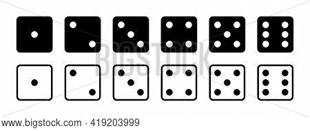 Dice. Game Dice. Icon With Side Of Cube From One To Six Number. Die Roll In Craps Or Poker. Set Of B