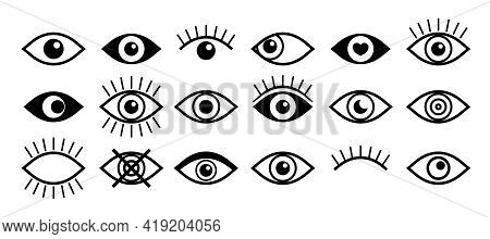 Eye Icon. Open And Close Eye. Eyeball With Eyelash. Outline Icon For Vision Of Human. Graphic Symbol