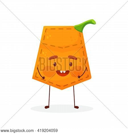 Pumpkin Shaped Patch Pocket. Character Pocket Pumpkin. Cartoon Style. Isolated On White Background.