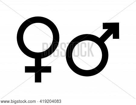 Gender Icon. Symbol Of Male, Female And Unisex. Sign Of Women Or Man Gender. Black Sexual Pictogram.