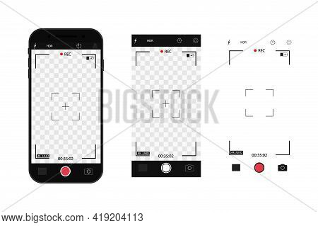 Camera Interface In Phone Screen. Photo, Video Ui In Cellphone. App For Record From Mobile Cam. View