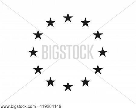 Star Icons In Circle. Black European Logos On White Background. Eu Flag. 12 Yellow Stars For Europe