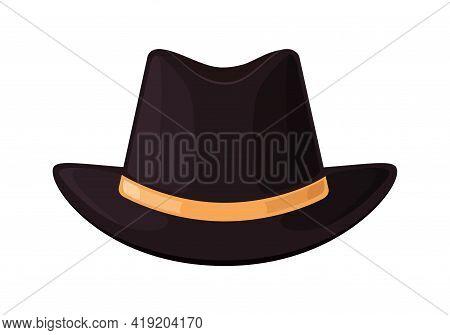 Hat Top. Black Bowler Of Gentleman. Icon Of Vintage Hat For English Man. Elegant Bowler For British