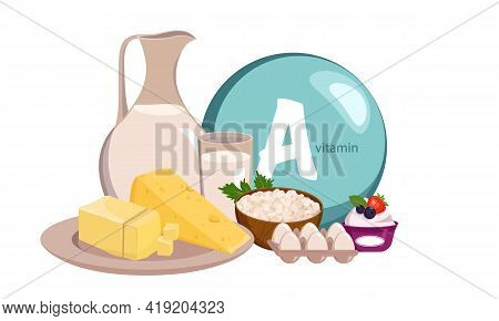 A Source Of Vitamin A, Calcium And Protein. Collection Of Farm Dairy Products. Diet Food. Healthy Li