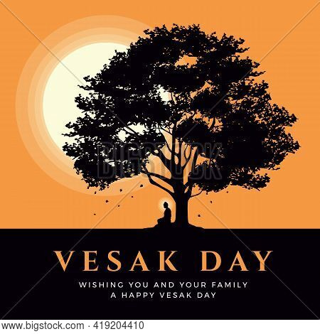 Vesak Day Banner With Silhouette The Lord Buddha Meditated Under Bodhi Tree On A Full Moon Orange Sk