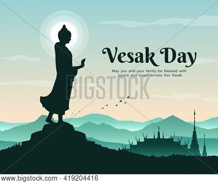 Vesak Day With Buddha Statue Stood And Raised His Hand Sign And Temple On Mountain Background Vector