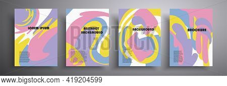 Minimal Abstract Vector Cover Template. Modern Art. Bright Colored Doodle Textures Suitable For Book