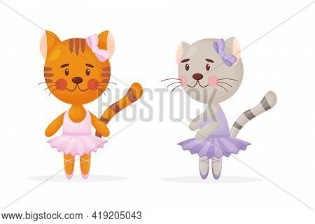 Happy Cute Cat, Kitten Character, Ballet Dancer In Pointed Shoes And Tutu Skirt, Cartoon Vector Illu