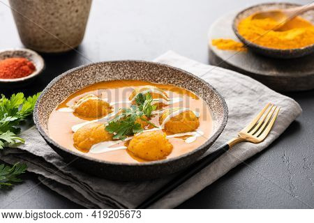 Malai Kofta Curry, Indian Cuisine Dish With Potato And Paneer Cheese