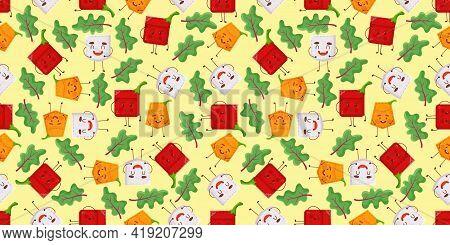 Seamless Pattern Pepper Garlic Pumpkin Shaped Patch Pocket. Character Pocket Pepper Garlic Pumpkin.