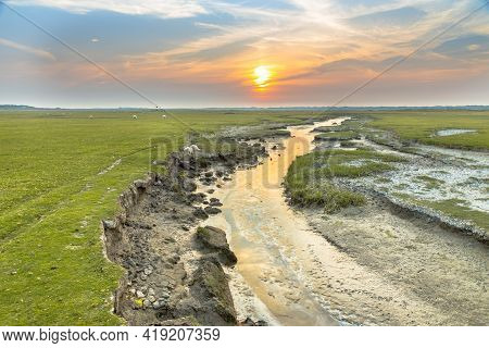 Tidal Channel In Salt Marshland With Natural Meandering Drainage System On Wadden Island Of Ameland