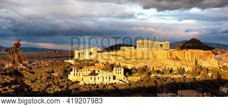 Panorama Of Athens With Acropolis Hill At Dramatic Sunset, Greece.